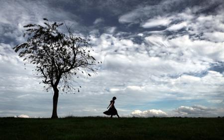 Заставки поле, дерево, небо, девушка