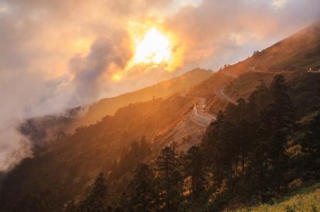Фото горы, холмы, дорога, машины