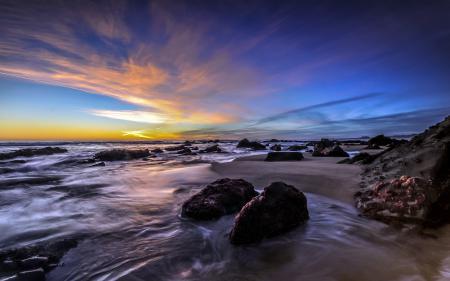 Картинки закат, море, скалы