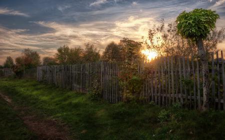Фотографии закат, дорога, забор, пейзаж