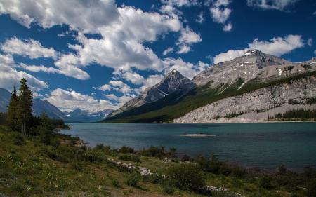 Заставки озеро, гора, берег, деревья