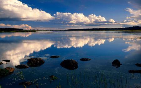 Картинки Фото, Озеро, Облака, Небо