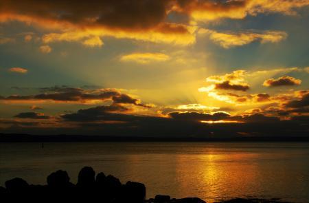 Фотографии небо, море, закат, лучи