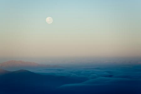 Картинки Луна, горы, облака, Чили