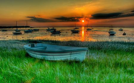 Фото nature, landscape, sunset, boats