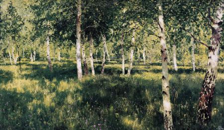 Фото исаак левитан, берёзовая роща, природа, картина