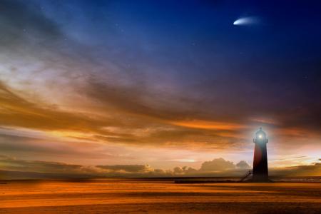 Обои море, небо, вечер, звезды