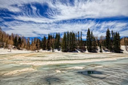 Фото across ice of dog lake, весна, зима, лес