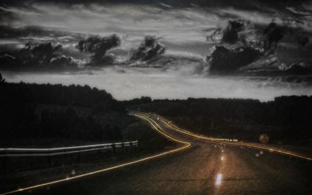 Фотографии дорога, шоссе, ночь, фон