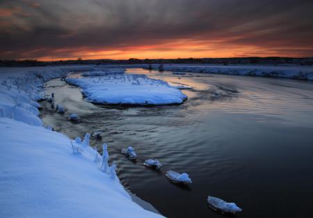 Картинки закат, небо, зима, река