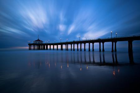 Обои небо, море, вечер, пирс