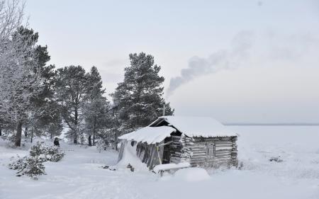 Обои зима, дом, снег, поле