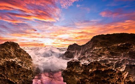 Заставки закат, небо, волны, облака