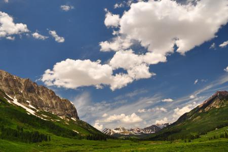 Картинки небо, облака, горы, луга