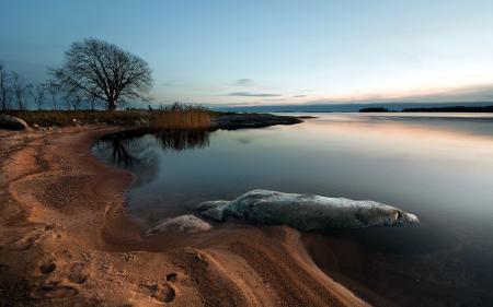 Обои море, закат, берег, пейзаж