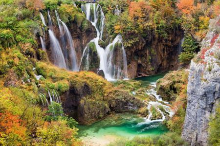 Обои Scenery, waterfall, lagoon, природа