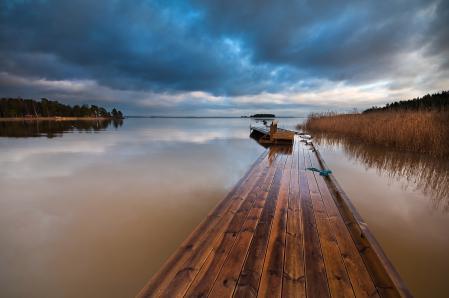 Заставки озеро, мост, небо
