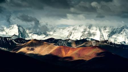 Фото китай, горы, снег, облака