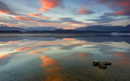 Обои озеро, дно, камни, прозрачность