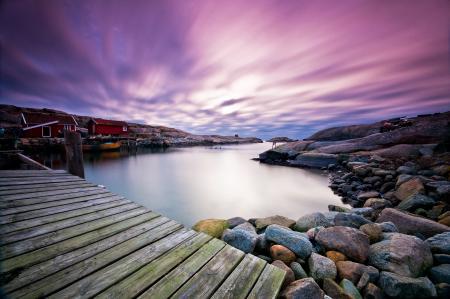 Заставки небо, тучи, залив, мостик