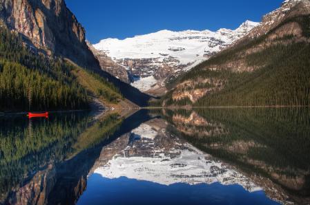 Обои горы, небо, озеро, лодка