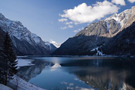 Фото горы, снег, зима, озеро