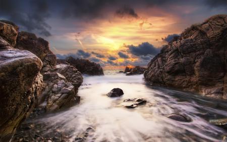 Заставки закат, небо, облака, океан