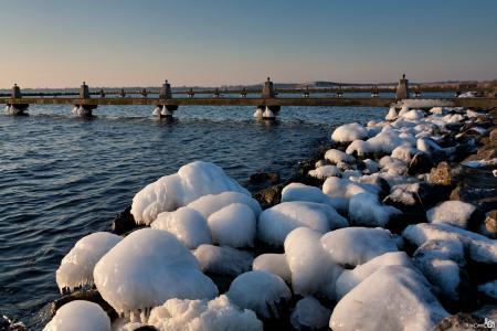 Картинки зима, река, мост, лёд