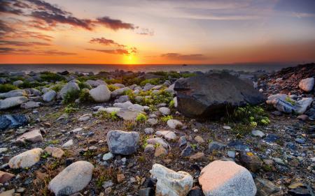 Фотографии закат, море, камни, пейзаж