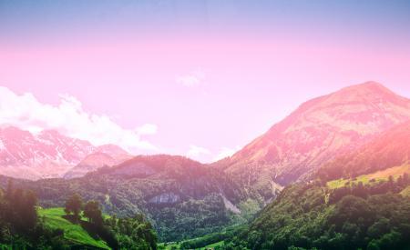 Фото горы, небо, солнце, лес