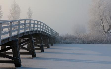 Заставки река, мост, туман, снег