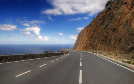 Заставки дорога, море, гора, пейзаж