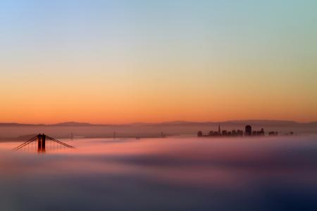 Фото мост, туман, закат, пейзаж