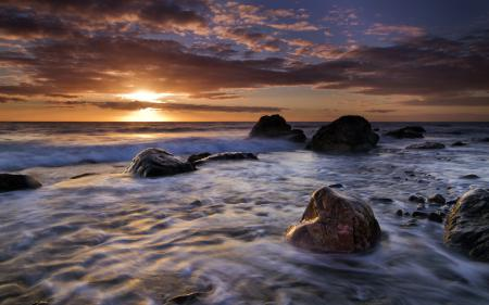 Заставки море, ночь, камни, пейзаж