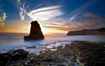 Обои море, закат, скалы, пейзаж