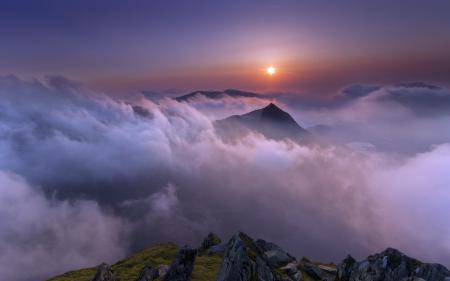Фото горы, ночь, облока, пейзаж