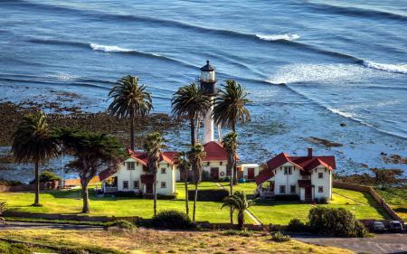 Заставки море, берег, дома, пейзаж
