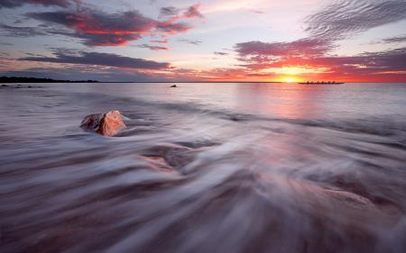 Заставки закат, море, лодка, пейзаж
