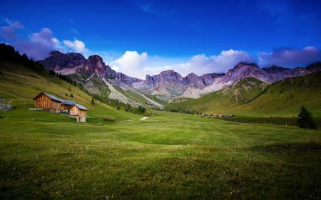 Фотографии поле, горы, дом, лето