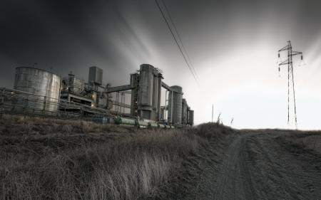 Картинки дорога, фабрика, ночь, столб