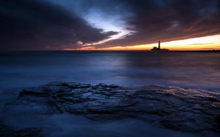 Фотографии маяк, море, ночь, пейзаж
