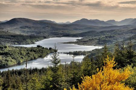 Фото осень, горы, холмы, река