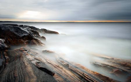 Заставки закат, море, скалы, пейзаж