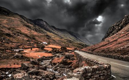 Фото дорога, горы, небо