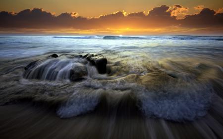 Заставки море, закат, волна, пейзаж