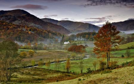 Фото поле, горы, пейзаж
