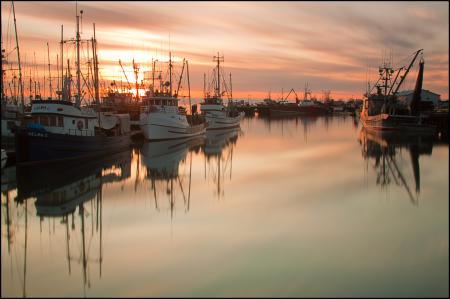 Фото вечер, гавань, катера. закат