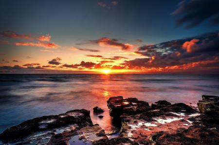 Картинки море, камни, горизонт, солнце