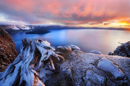 Фото горы, кратер, озеро, рассвет
