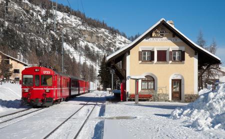 Фото зима, снег, небо, поезд
